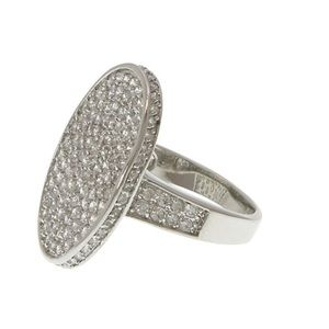 Pavé Cubic Zirconia Oval SterlingSilver Ring,6 or8